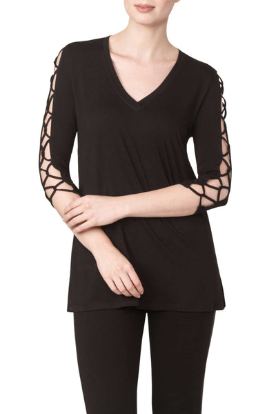 Ladies Long Black Tunic Top-Sexy Sleeve Detail Top Quality Fabric