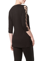Ladies Long Black Tunic Top-Sexy Sleeve Detail Top Quality Fabric - Yvonne Marie