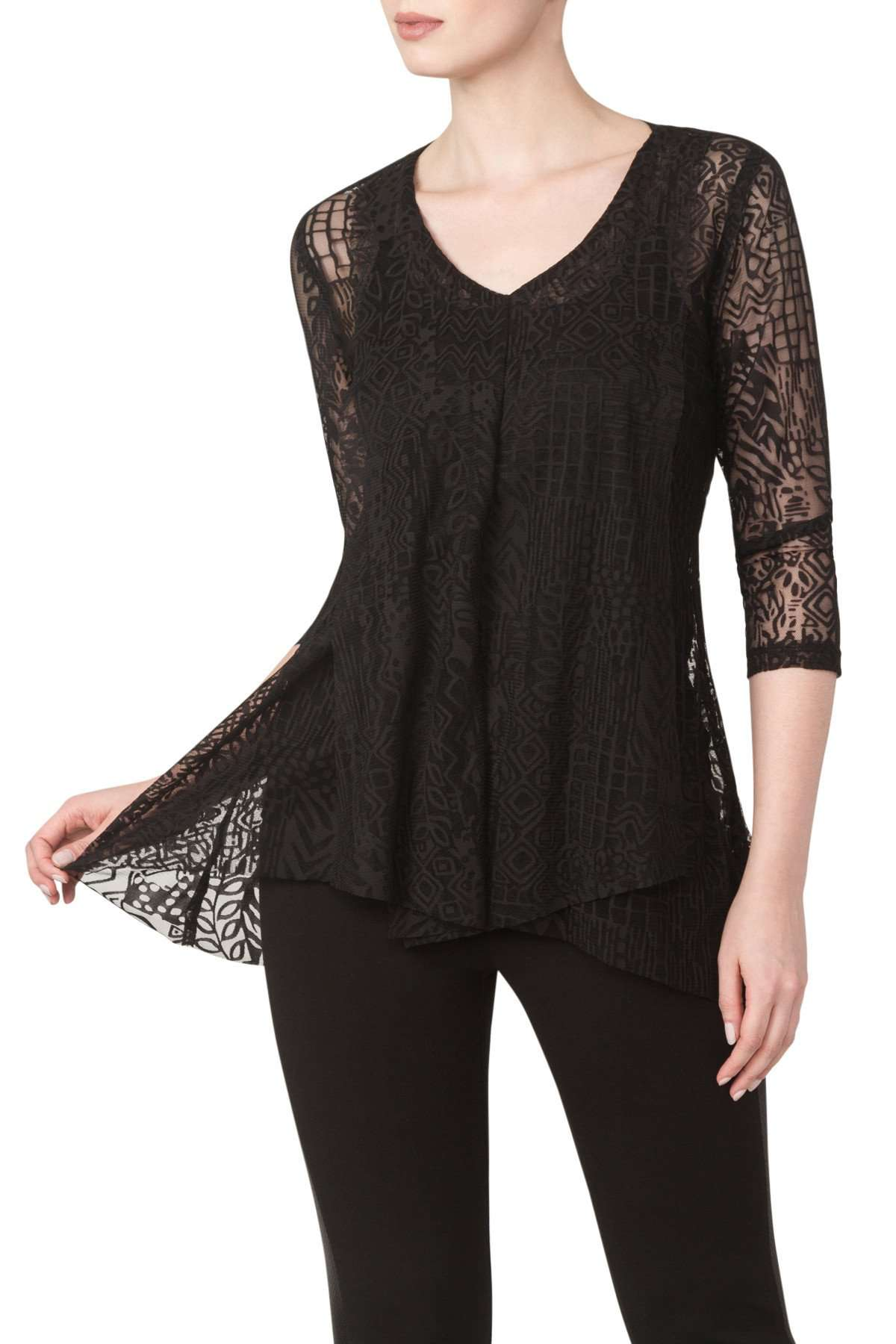 Black Lace Slimming Long Top