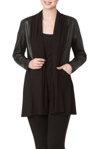 Women's Black Leather Trim Cardigan - Yvonne Marie - Yvonne Marie