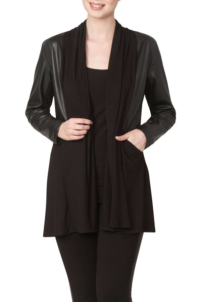 Black Jacket with Washable Leather Trim Features Deep Pockets