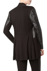 Black Jacket with Washable Leather Trim Features Deep Pockets - Yvonne Marie