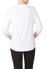 White Blouse In Quality Knit fabric Super Soft Quality and Comfort - Yvonne Marie
