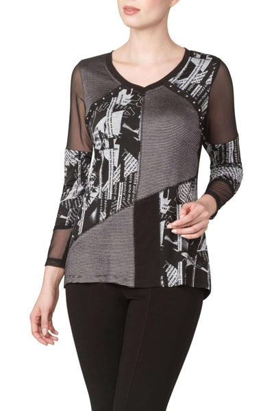 Women's Black Top with Mesh Sleeves