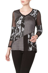 Top With Graphic Print Mesh Inserts and Nailhead Detail - Yvonne Marie