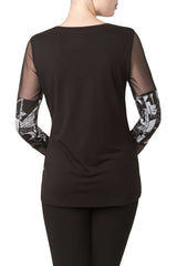Women's Black Top with Mesh Sleeves - Yvonne Marie
