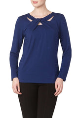 Women's Tops Canada | Royal Blue Long Sleeve Top | Now 60 OFF | YM Style - Yvonne Marie