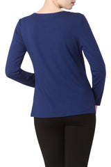 Royal Blue Long Sleeve top Cut Out Neckline - Yvonne Marie