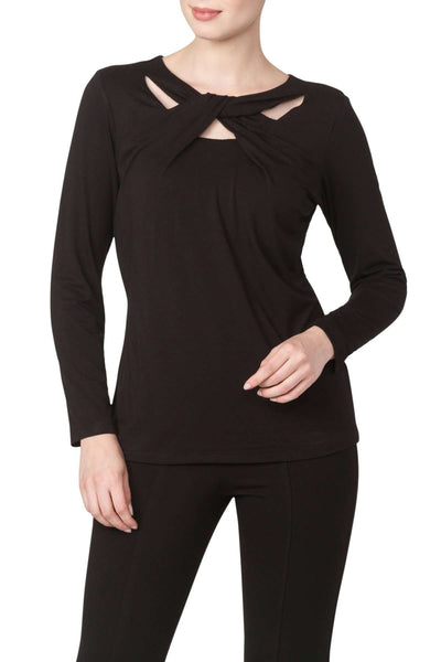 Black Long Sleeve Top with Neckline Detail