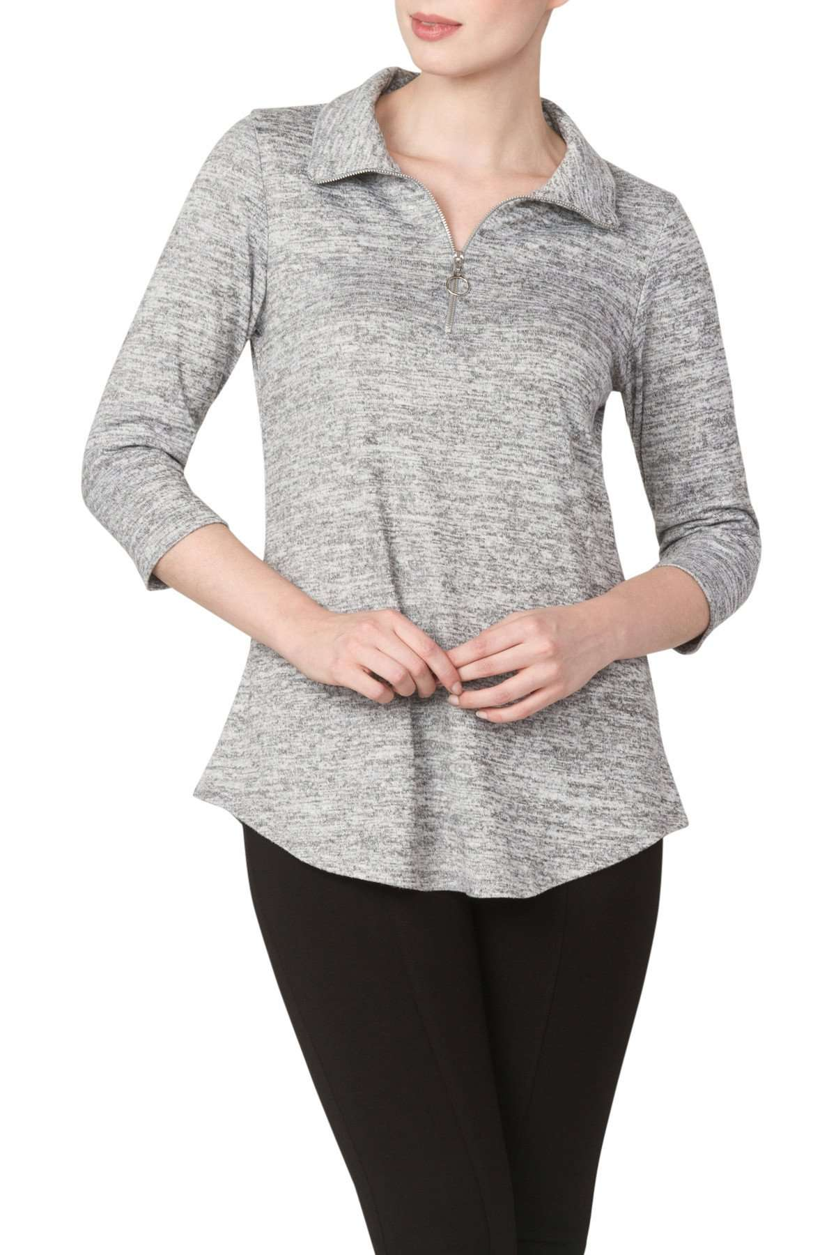 Sweater Ladies Silver Grey Comfort and Style - Yvonne Marie
