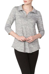 Women's Grey Zipper Front Top - Yvonne Marie