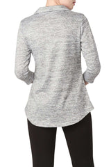 Blouse Top in Silver Grey Mix Knit Fabric Made in Canada Now 50% Off - Yvonne Marie