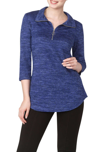 Blue Sweater Knit Top Features Zipper Front Neckline-Super Comfort Our Best Seller