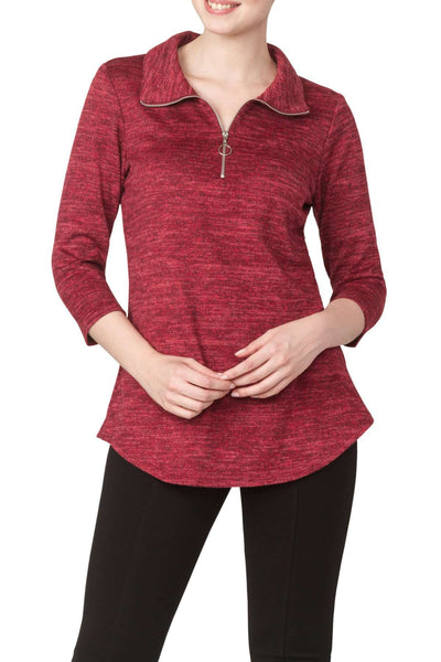Red Soft And Cozy Special Fabric Top- Features Zip Front Neckline-Best Seller for 2 Years-You will Love the Quality and Comfort Of your New Sweater top