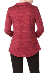 Red Top Made in Soft Cozy Knit Washable Fabric-Best Seller-Features Zip up Neckline-Made In Canada - Yvonne Marie
