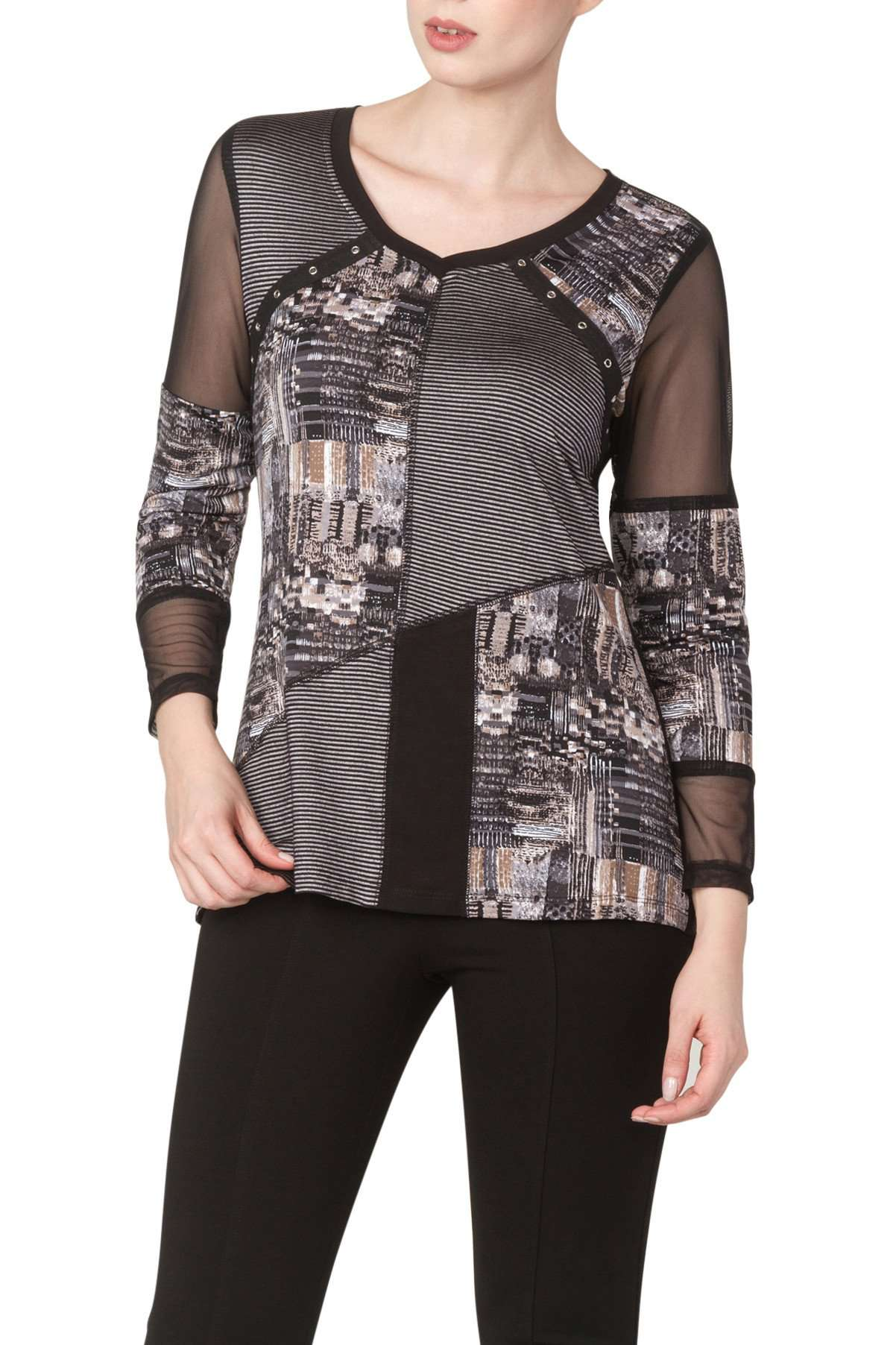 Women's Tops on Sale Flattering Design Print with Stripes - Made in Canada - Yvonne Marie - Yvonne Marie