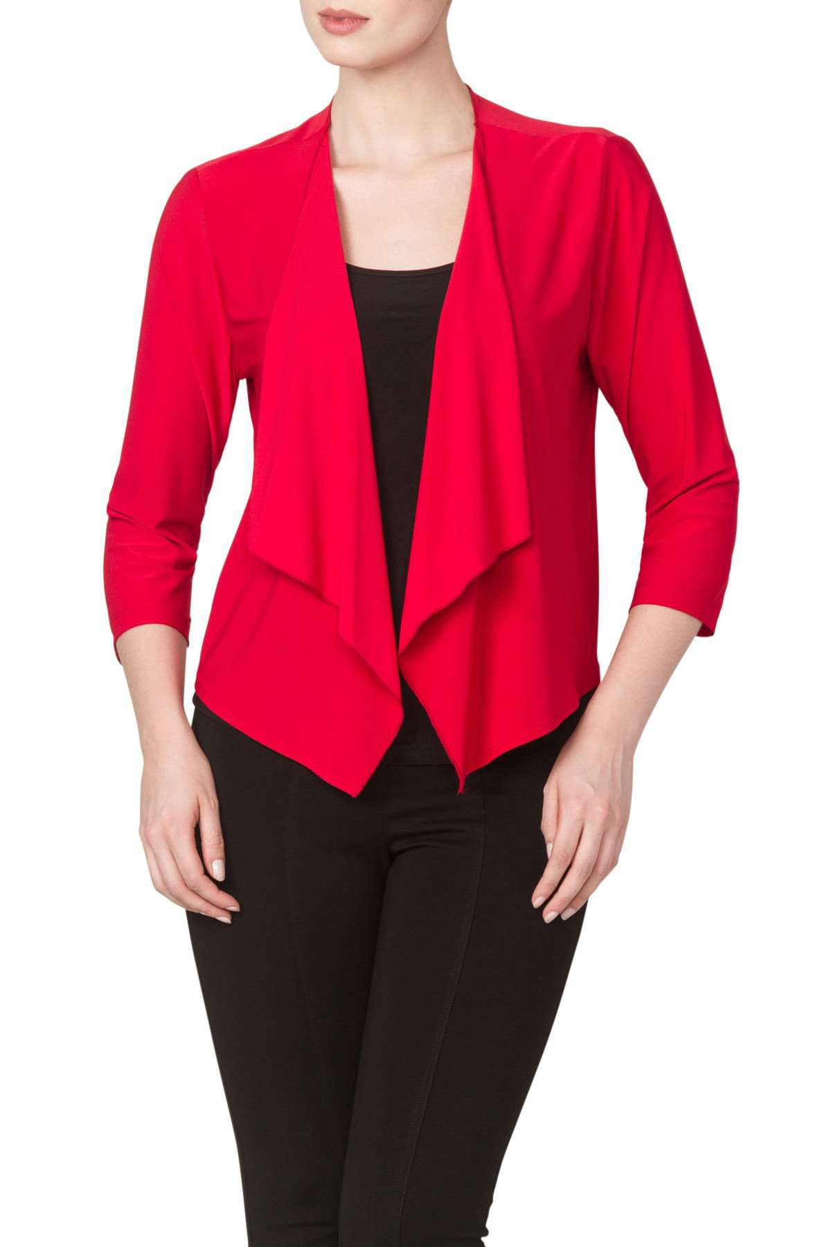 Jacket Red Cardigan Style in Soft Knit Fabric-Washable-Great Fit-Quality and Comfort Guaranteed-Made in Canada - Yvonne Marie
