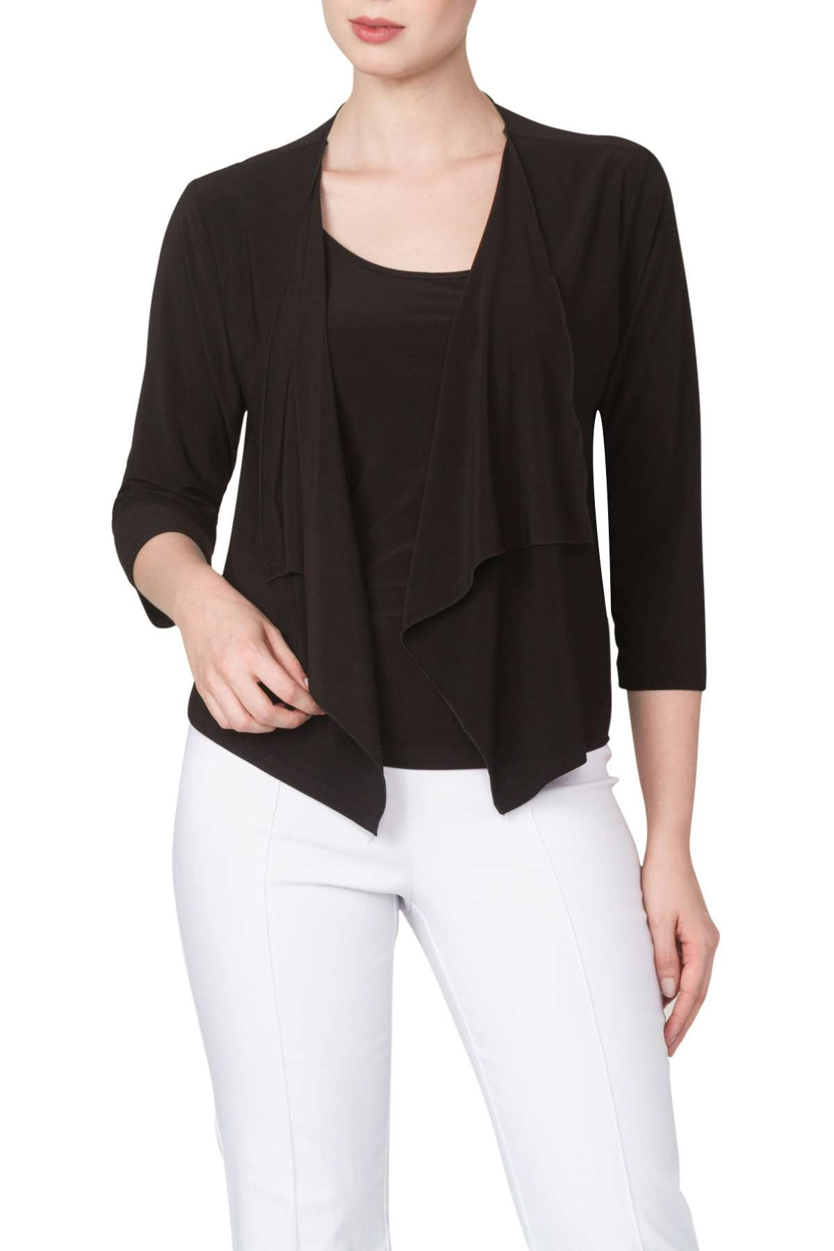 Bolero Jacket in Black Quality Knit Fabric -Made in Canada - Yvonne Marie