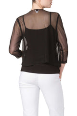 Bolero Jacket in Soft Black Stretch Knit Chiffon-Our best Seller For 5 Years-Comfort and Quality Guaranteed - Yvonne Marie