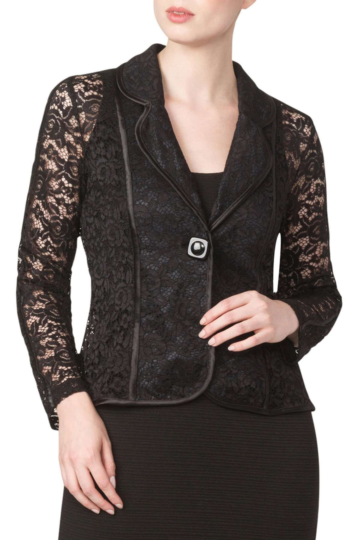 Black Lace Jacket Made in Soft Stretch Lace-Comfort and Quality Guaranteed-Our Best Seller - Yvonne Marie