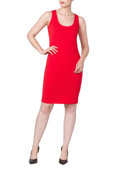 Ladies Dress Red Tank Style-Stretch Knit Slimming Fabric