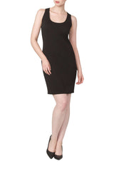 Black Tank Style Dress in Quality Textured knit Fabric - Yvonne Marie