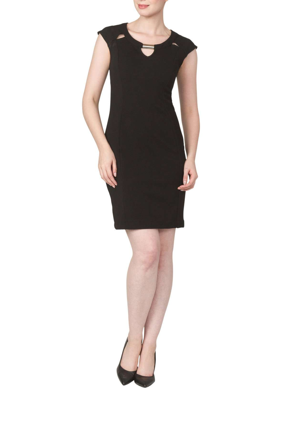 Black Dress Quality Textured Knit Fabric Peekaboo Neckline - Yvonne Marie