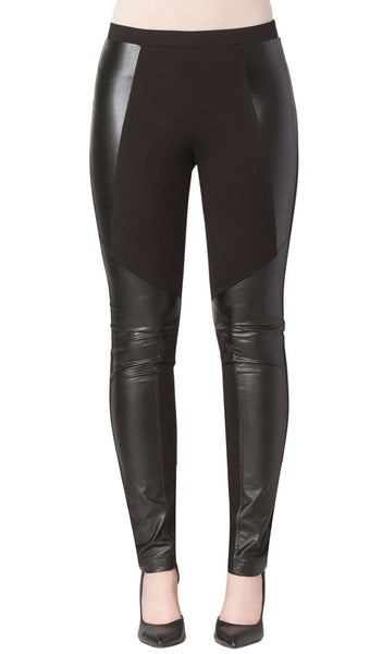 Women's Black Pants with Leather -Made In Canada-Shop Local
