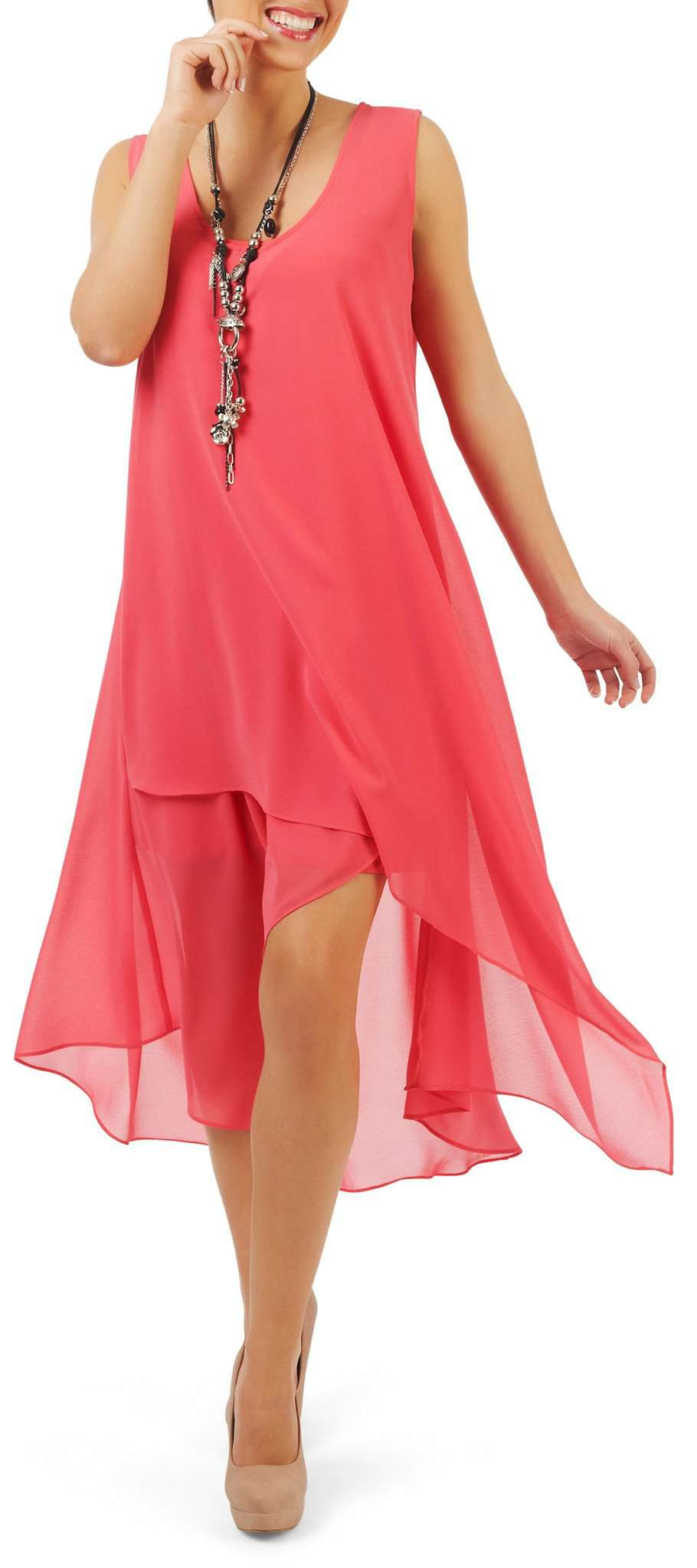 Dress in Coral Chiffon-Quality Design and Great Fit-Guaranteed By Designer Yvonne Marie-Made in Canada-Limited Designs-Be Unique and By Quality for Your Special Event - Yvonne Marie