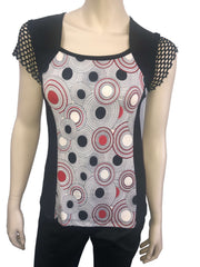 Designer Tops on Sale Now 50 Off Red and Black Print with Lace - Yvonne Marie - Yvonne Marie