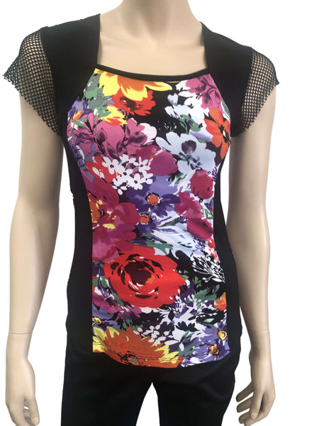 Women's Tops On Sale Multicolor Top with Mesh Sleeves