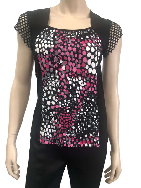 Women's Tops on Sale Black and Pink top with Mesh Sleeves