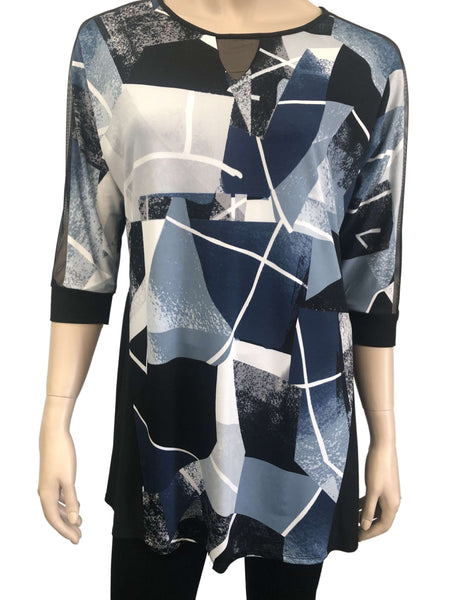 Women's Blue Printed Top with Mesh Insert Sleeve Made in Canada