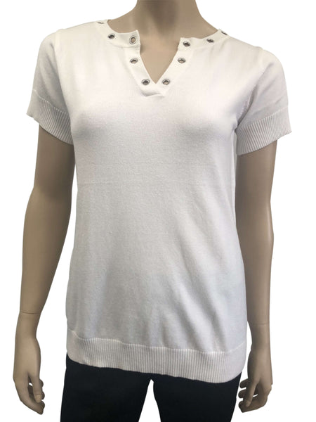 Women's Tops Canada | white Short Sleeve Top | On Sale | YM Style