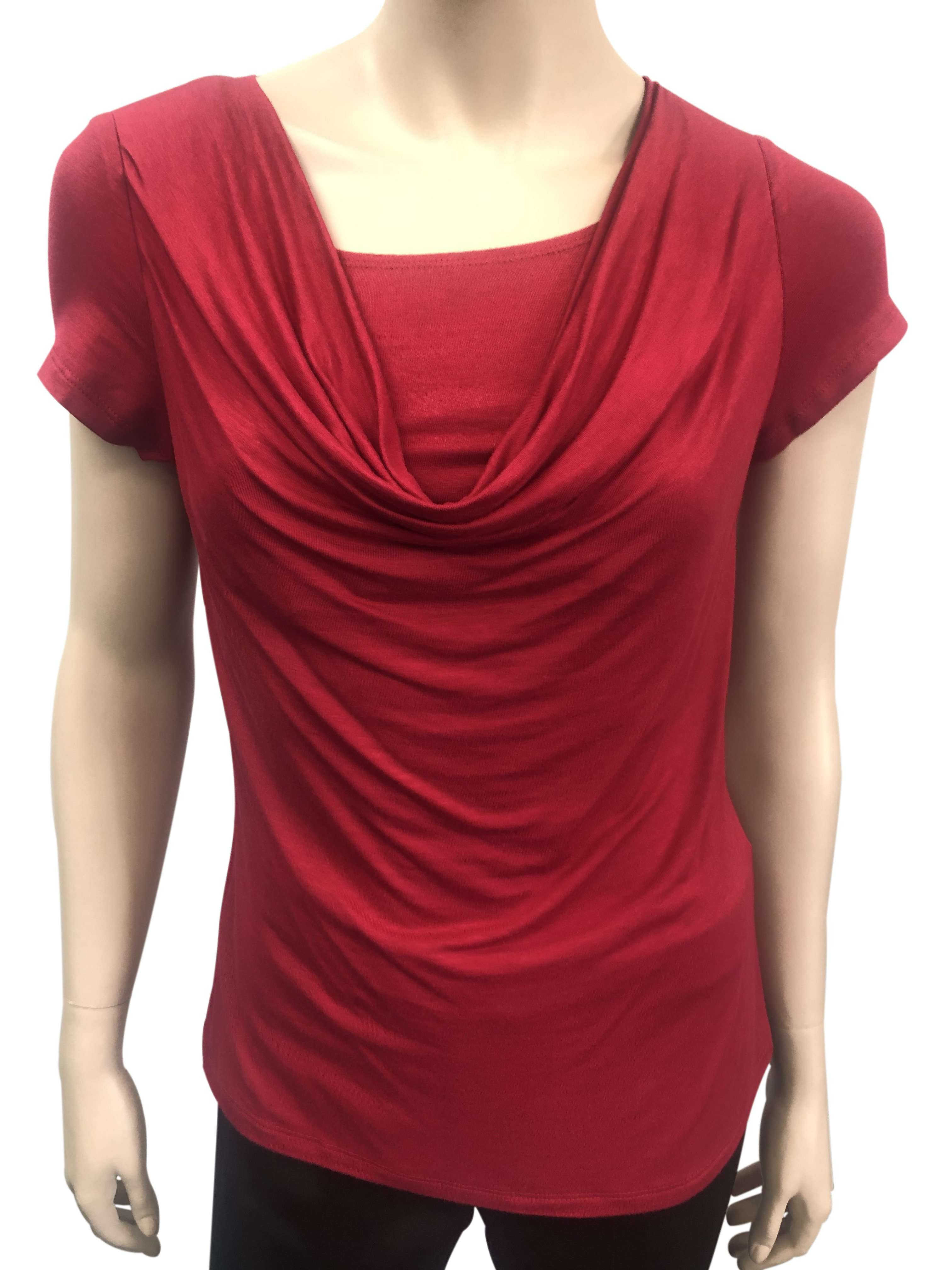 Women's Tops on Sale Canada | Red Short Sleeve Top | YM Style - Yvonne Marie