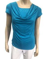 Women's Turquoise Top On Sale Draped Neckline - Made in Canada - Yvonne Marie - Yvonne Marie
