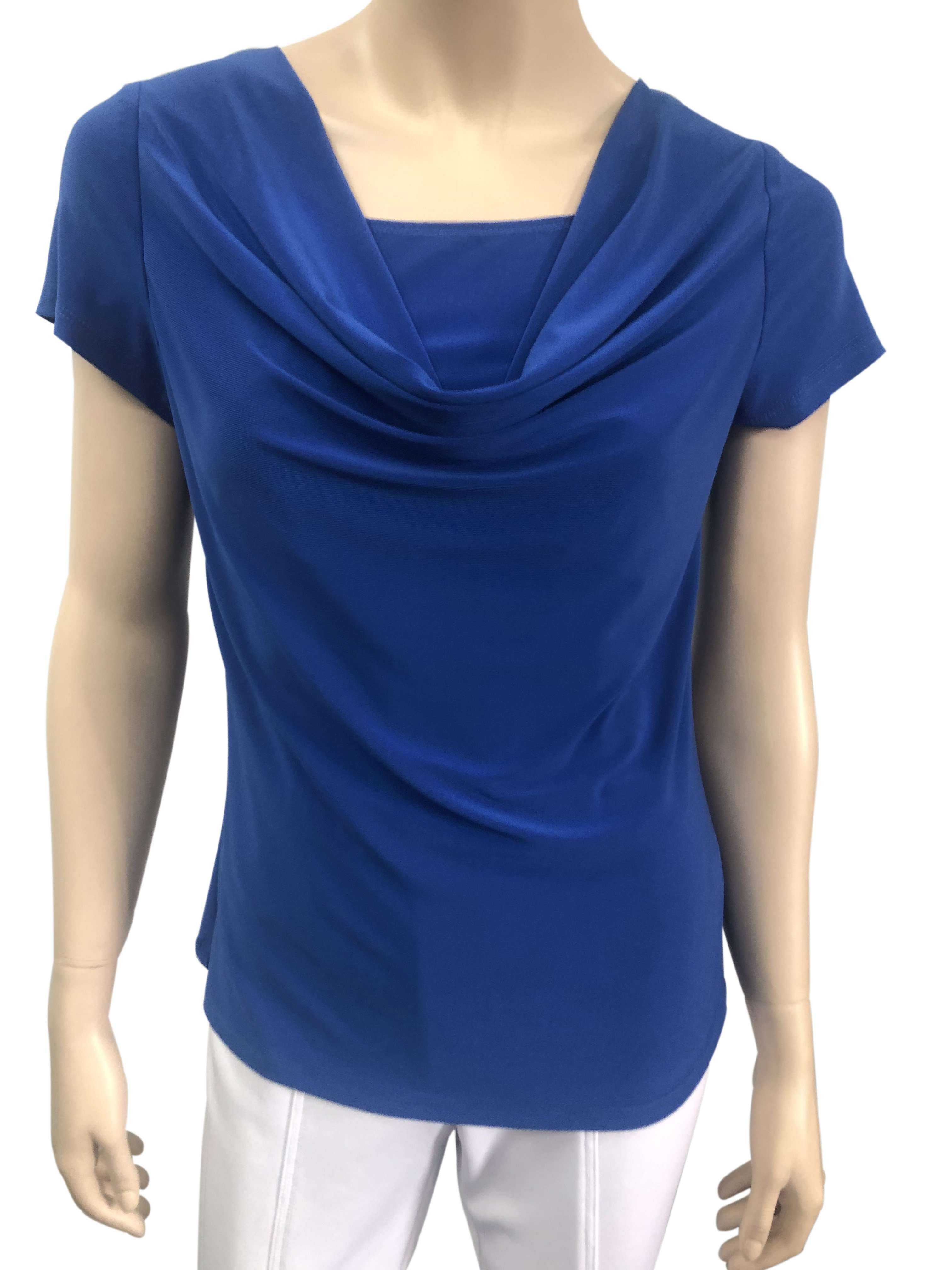 Women's Royal Blue Top On Sale Cowl Neckline Best Seller - Yvonne Marie