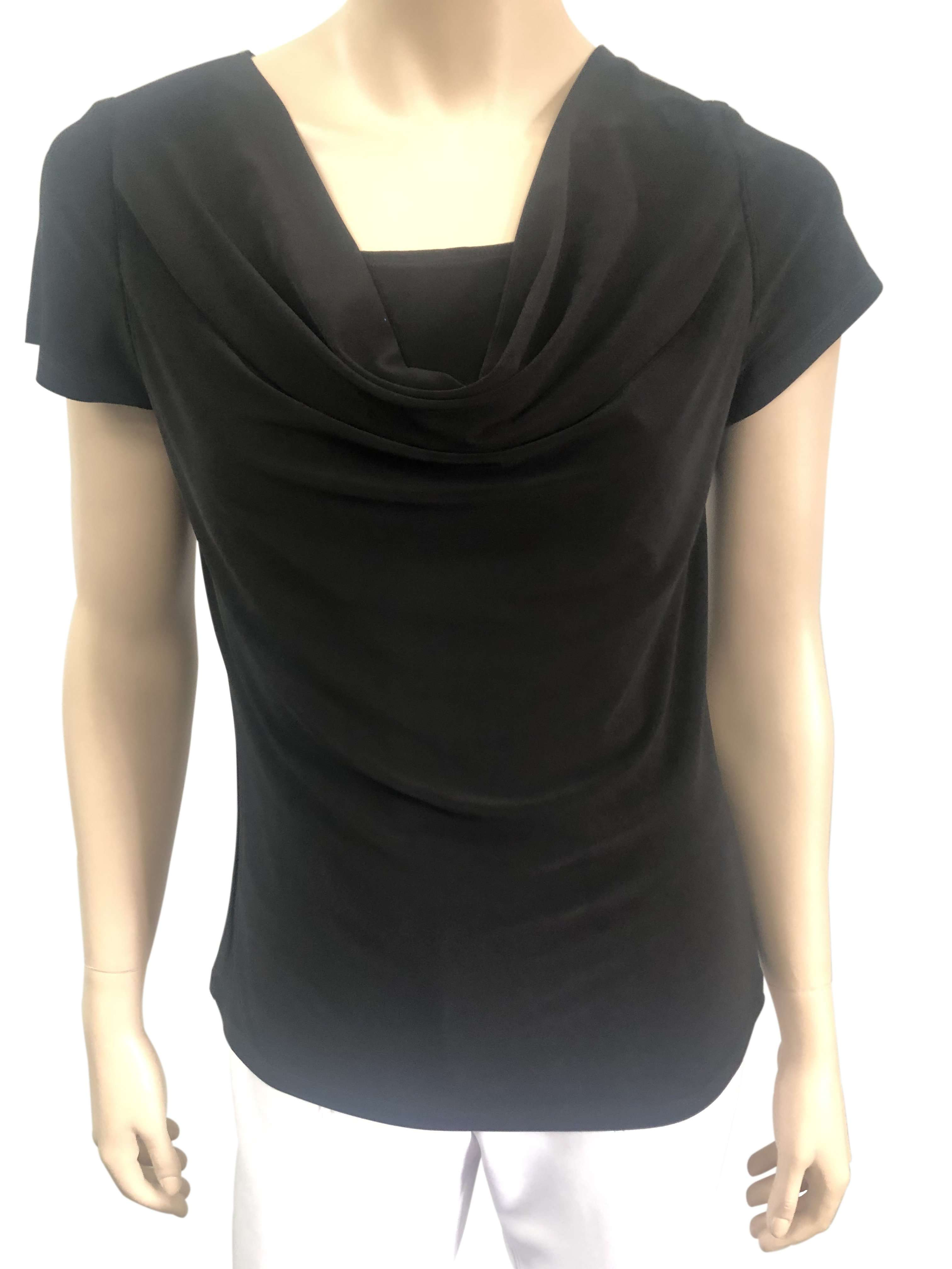Women's Tops on Sale Black Draped Neck Top - Made in Canada - Yvonne Marie - Yvonne Marie