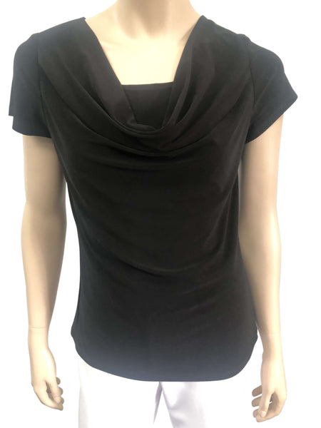 Women's Tops on Sale Black Draped Neck Top - Made in Canada
