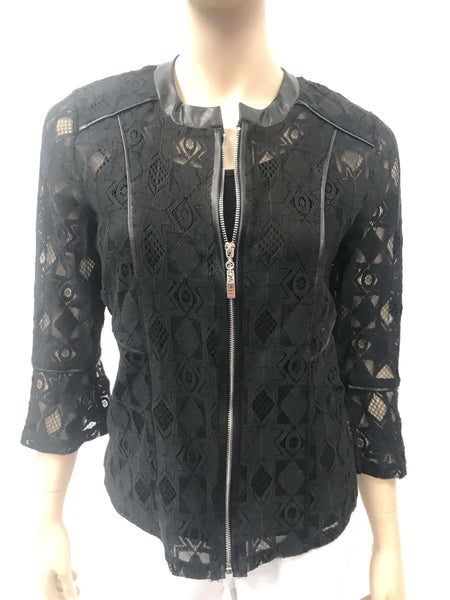 Women's Jackets Canada | Black Lace Jacket with Zipper | YM Style