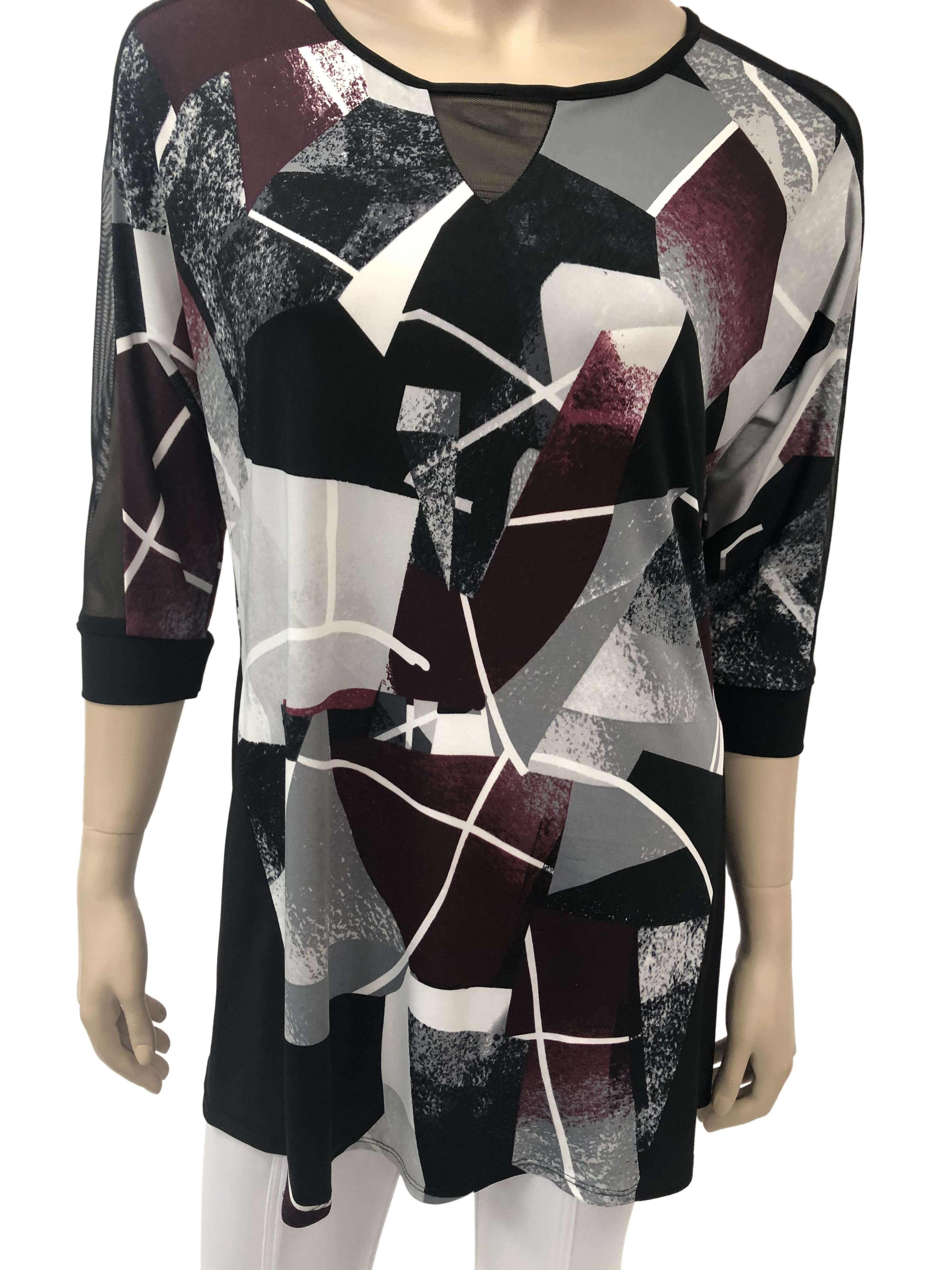 Women's tops On Sale  XXLarge Burgundy and Black with Mesh Sleeve Inserts - Yvonne Marie - Yvonne Marie