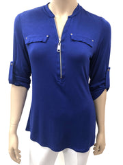 Womens Royal Blue Blouse On Sale - Made in Canada - Yvonne Marie - Yvonne Marie