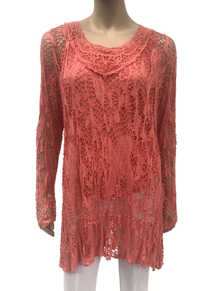 Women's Tunic Tops On sale Canada | Coral crochet Tunic Top | On Sale | YM Style