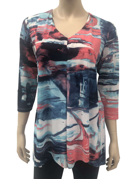 Women's Blue and Coral Flattering Flyaway Tunic - Made in Canada