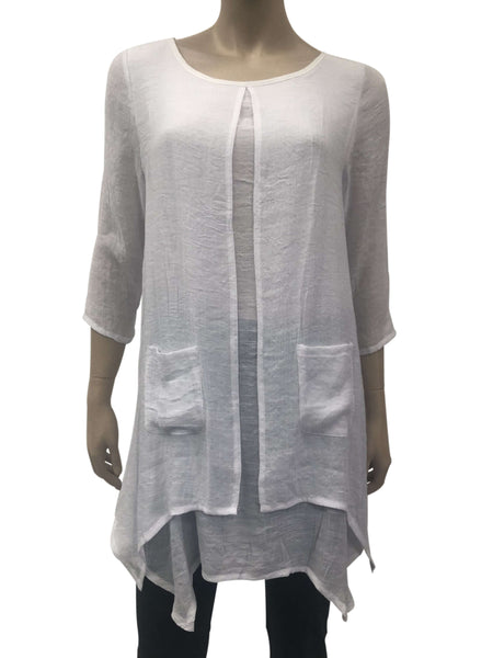 Women's Tunic Tops Canada | White Long Tunic Top | On Sale | YM Style