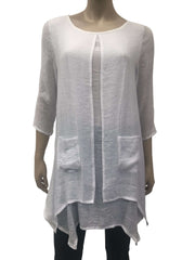 Women's White Blouses Layered Flowing Fabric with Pockets - Yvonne Marie - Yvonne Marie