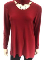 Women's Red Top with Novelty Neckline - Made in Canada - Yvonne Marie - Yvonne Marie