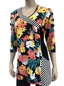 Women's Designer Tops on Sale Colorful Tunic with Sleeve Detail - Made in Canada - Yvonne Marie - Yvonne Marie