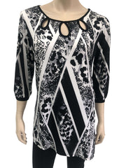 Women's Black Printed Long Sleeve Top - Yvonne Marie