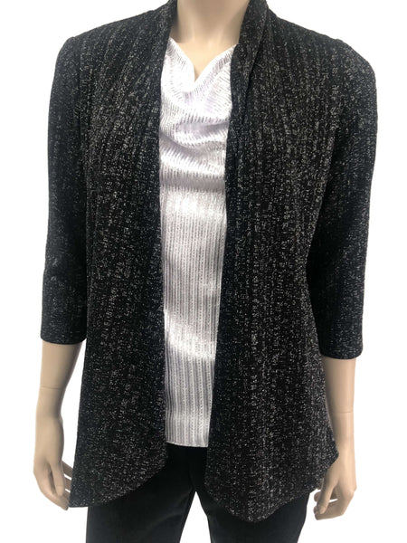 Women's Black Cardigan with A Touch Of Glitter - Made In Canada - Shop local